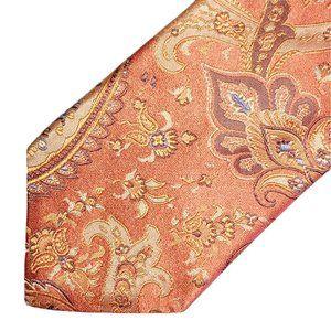 John W Nordstrom Silk Tie Bright Orange Paisley